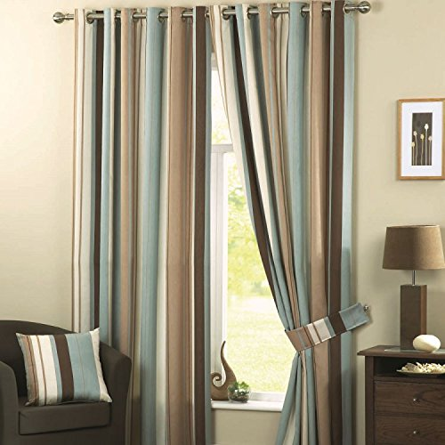 (Pair of Whitworth Striped Fully Lined Window Curtains Drapes with Grommet Top - Duck Egg Blue - 46