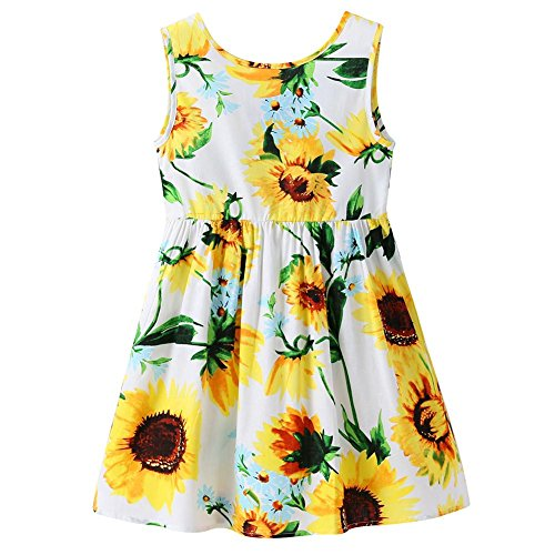 Chinatera Little Girls Sunflower Tutu Dress Toddler Girl One Piece Sleeveless Beachwear Outfit for Summer (Sunflower, 3-4T) by Chinatera
