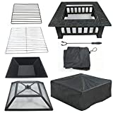 LEMY 32 inch Outdoor Fire Pit Square Metal Firepit Backyard Patio Garden Stove Wood Burning BBQ Fire Pit W/Rain Cover, Faux-Stone Finish