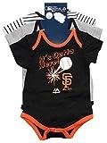 "San Francisco Giants Newborn Black Gray White Stripe ""Home run"" 3 Piece Creeper Set"