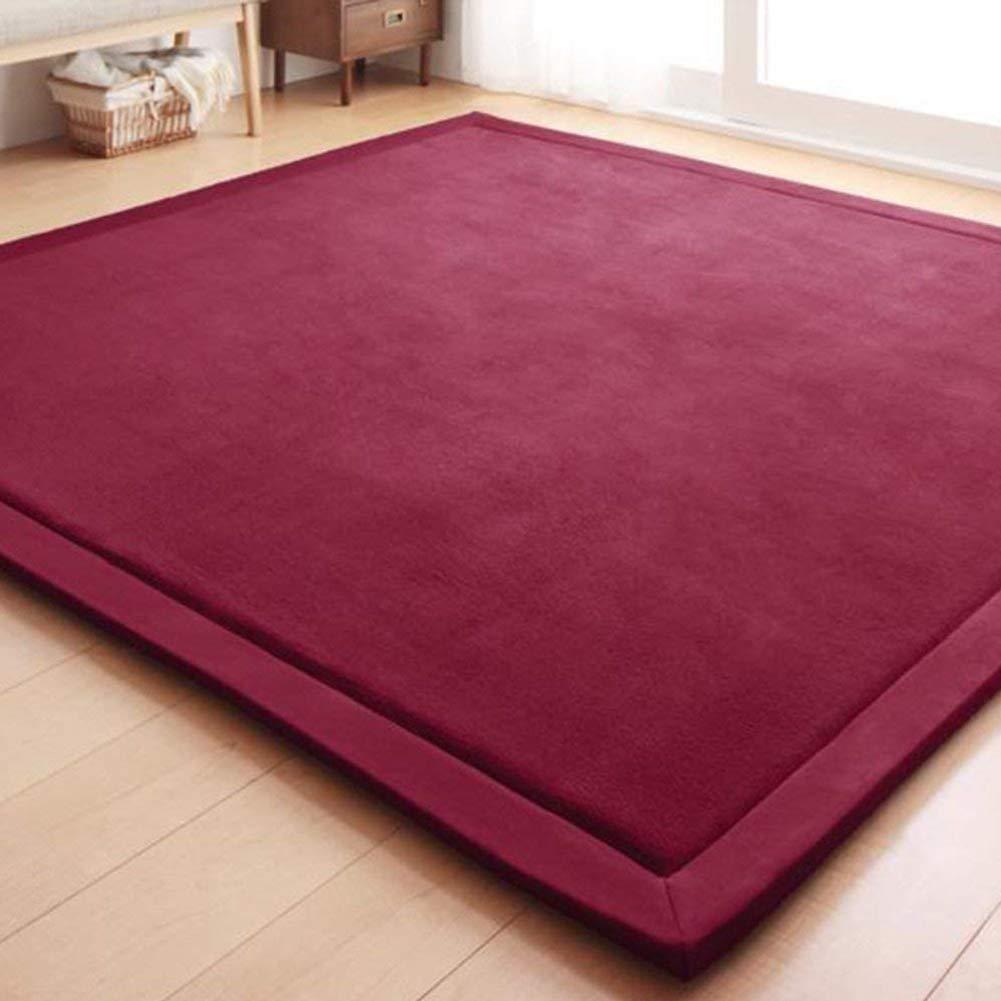 MisDress Thick Plush Baby Play Mat Handmade Coral Velvet Yoga Mat, Exercise Mat Anti-Skid Indoor Area Rugs Floor Mat Carpet Living Room Bedroom Burgundy 2'7 x 6'7