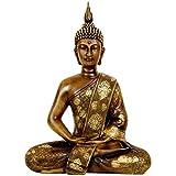 "Tibet Buddha Statue Golden Brown 11"" Thai Sitting"