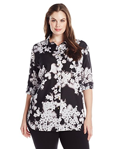 Calvin Klein Women's Plus Size Roll Sleeve Tunic, Black Floral, 0X