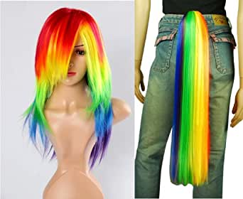 My Little Pony Rainbow Dash Cosplay Costume Wig Tail Set - Friendship Is Magic