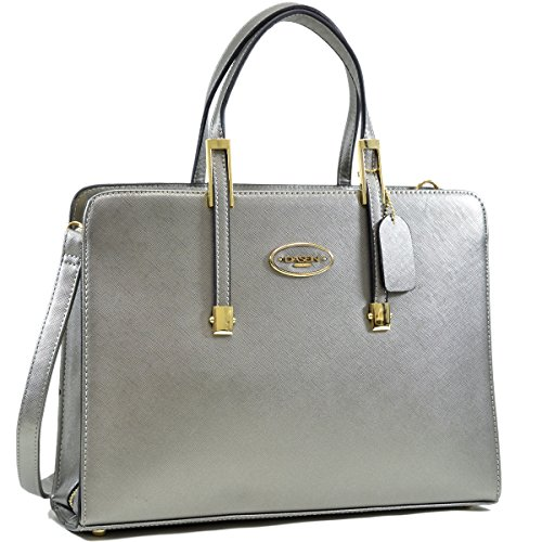 Women Work Pewter Sliver Briefcase Tote with Removable Shoulder Strap - 8890 Leather
