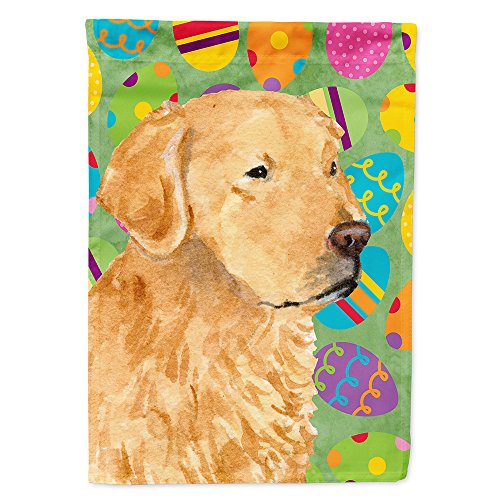 (Caroline's Treasures SS4821CHF Golden Retriever Easter Eggtravaganza Flag Canvas House Size, Large, Multicolor)