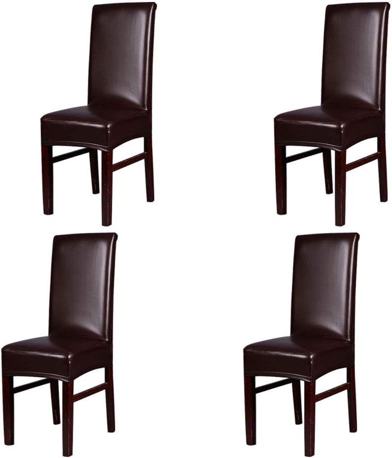Levoberg 4 Pièces Housse de Chaise Etanche en PU Couverture de Chaise Salle à Manger en Cuir Imperméable Protection Décor Café