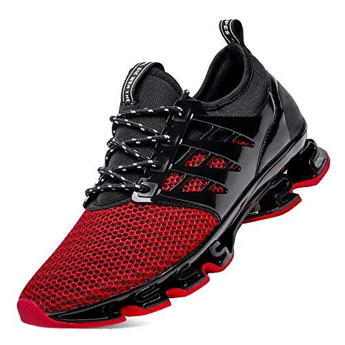 (SKDOIUL Black and red Sneakers for Men Men Comfortable Shoes Size 10 Springblade Sport Running Shoes for Mens Mesh Breathable Trail Runners Fashion Sneakers (8066-Red-47))