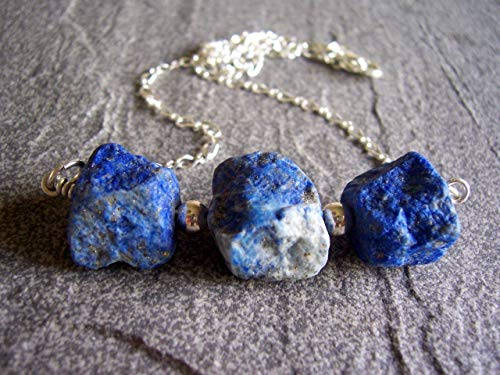Lapis Lazuli Nugget and Sterling Silver Chunky Line Necklace