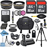 Mega Professional Accessory Bundle Kit for Canon EOS 80D DSLR Camera with 32GB in Memory + 2X Telephoto Lens + Wide Angle Lens + Multi-Power Battery Grip + SLR Auto Flash + LP-E6 Battery + More!
