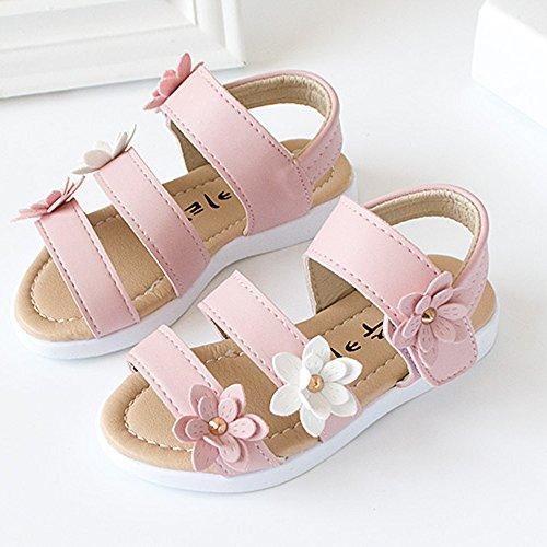 OverDose Mädchen Sandalen, Sommer Mädchen Sandalen Mode Big Flower Casual Flat Pricness Schuhe Rosa