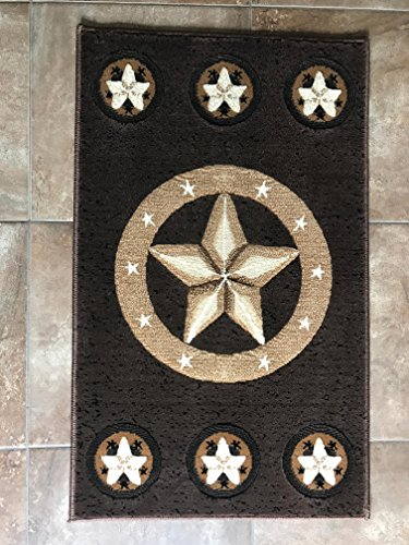 Skinz Texas Lone Star Door Mat Area Rug Chocolate Brown Design 78 (2 Feet X 3 Feet 4 ()