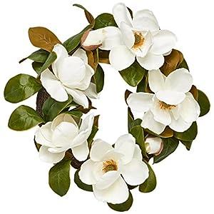 "Worth Imports 22"" Magnolia Wreath W/ 7 Flowers 7"