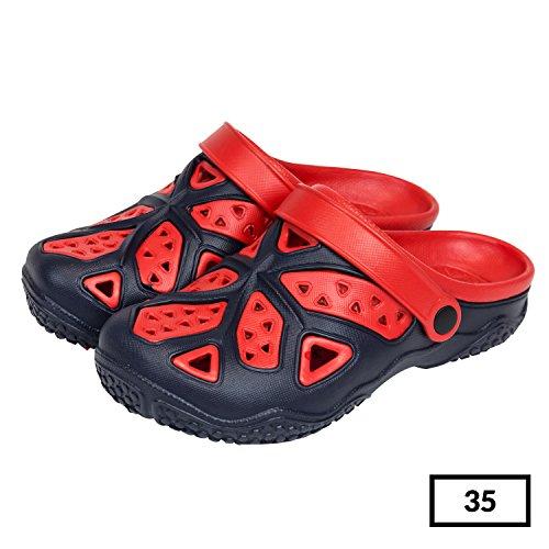Sabot zoccoli slip on ciabatte in materiale EVA per bambini, taglia 35, colore: blu / rosso