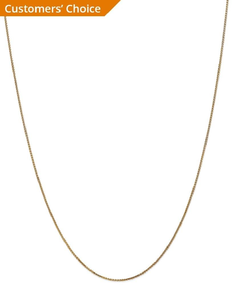 ICE CARATS 14k Yellow Gold 1mm Solid Spiga Chain Necklace 24 Inch Wheat Fine Jewelry Gift Set For Women Heart by ICE CARATS (Image #2)