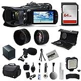 Canon VIXIA HF G40 Full HD Camcorder + Mic + Extra Battery + 64GB Kit + Case + Telephoto Lens + Filter Kit + XGrip + SD Reader + Professional Accessory Bundle Kit