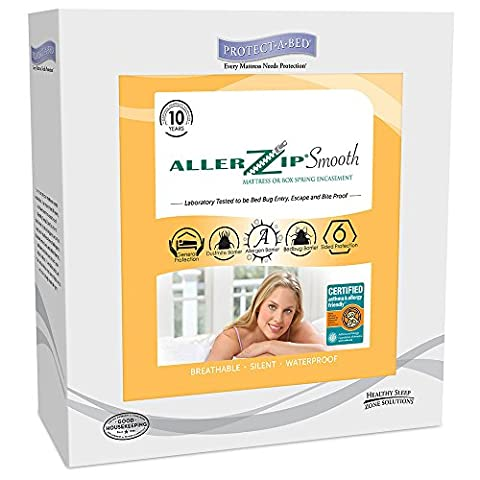 AllerZip Smooth Waterproof Bed Bug Proof Zippered Bedding Encasement, Cal King, (Fits 13 - 18 in. - Allerzip Waterproof Bed Bug
