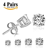 LIEBLICH Round Cut Cubic Zirconia Stud Earrings Stainless Steel Gold Plated Earrings Set 4 Pairs 3mm-6mm (White)