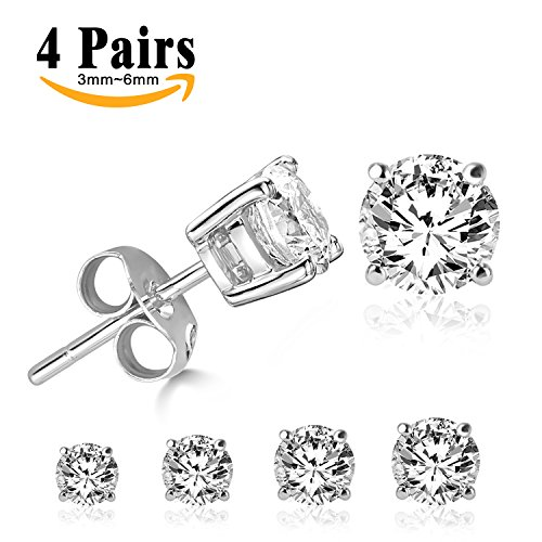 Round Cubic Zirconia Set (LIEBLICH Round Cut Cubic Zirconia Stud Earrings Stainless Steel Gold Plated Earrings Set 4 Pairs 3mm-6mm (White))
