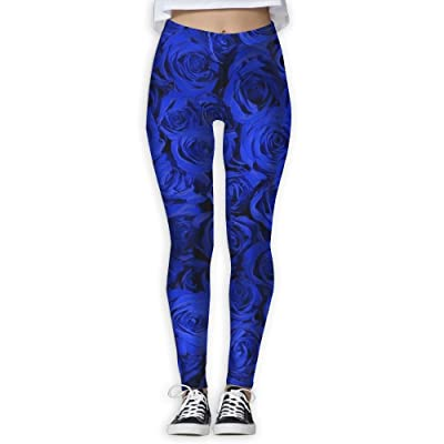 LINSHANGYI Blue Rose Tummy Control Yoga Pants Leggings Outdoor Wear Skinny Pants
