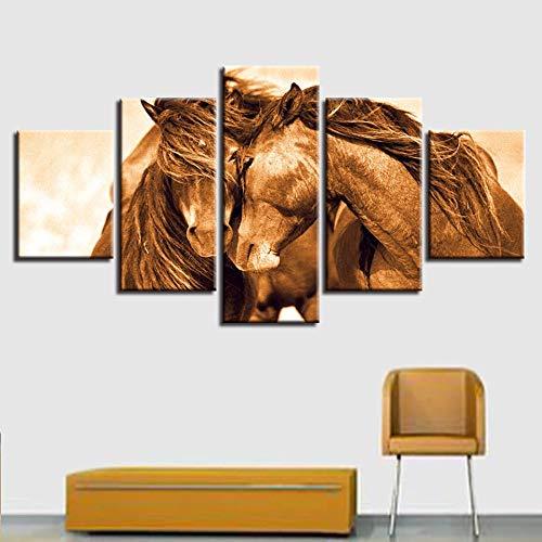 GUDOJK HD Impreso Moderno Lienzo Living Ro Pictures Modular 5 Panel Animal Caballo Pintura Wall Art Poster Él Decoración Marco 20x35 20x45 20x55cm