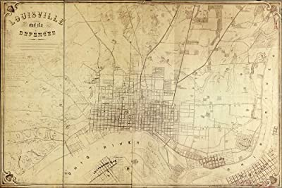 24x36 Poster; Map Of Louisville Kentucky And Its Defences 1865; Antique Reprint