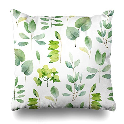 Ahawoso Decorative Throw Pillow Cover Green Eucalyptus Herbal Pattern Leaves Watercolor Pale Leaf Nature Branch Botany Floral Pastel Design Zippered Design 20