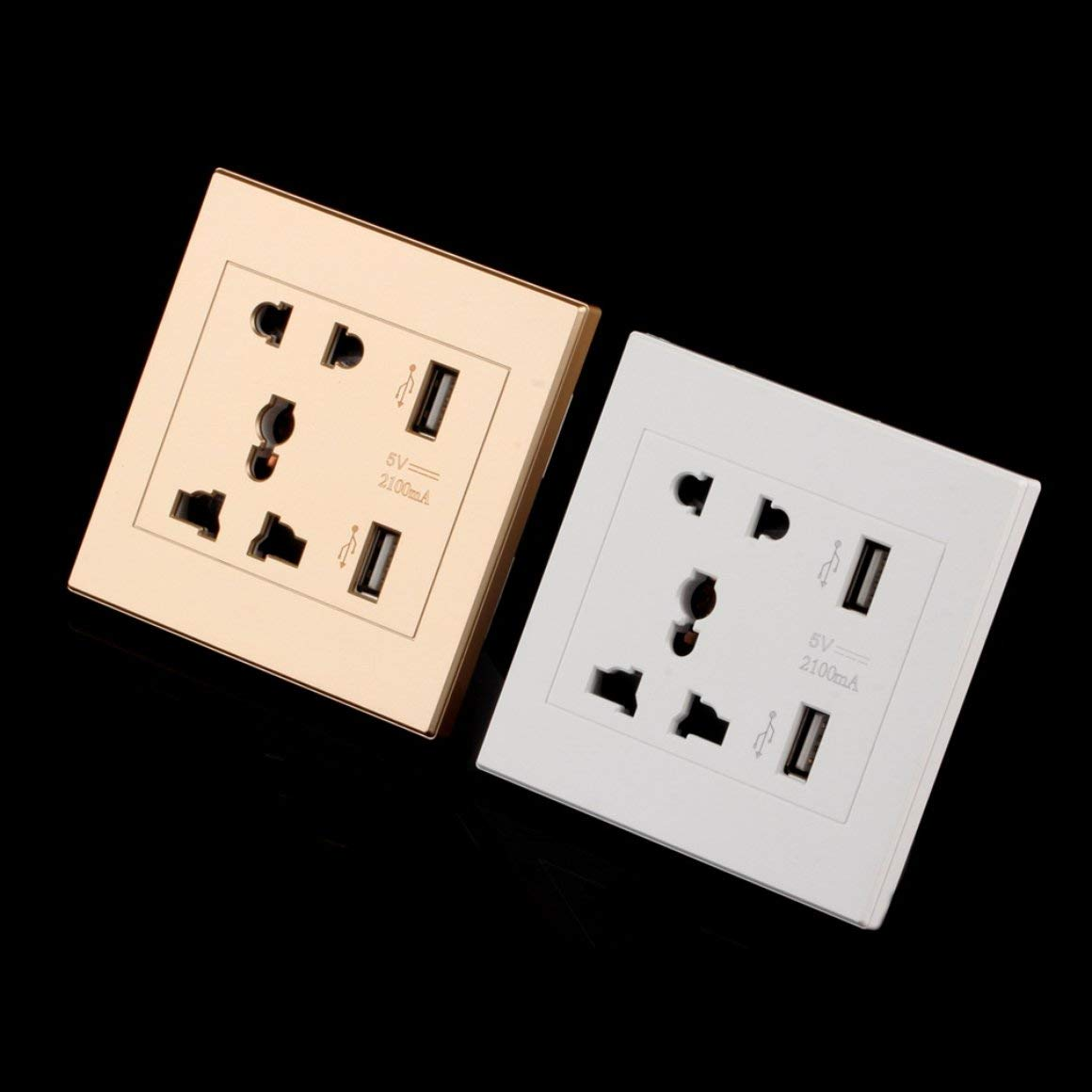 Funnyrunstore Puerto doble USB Cargador de pared el/éctrico Toma de corriente Placa de panel de toma de corriente Color: blanco