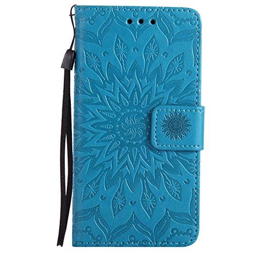 YHUISEN Samsung A3 2016 caso, diseño de la impresión de la flor del sol Caja de cuero del tirón de la PU del tirón de la PU con la ranura para tarjeta / soporte para la galaxia A3 2016 A310 de Samsung Blue