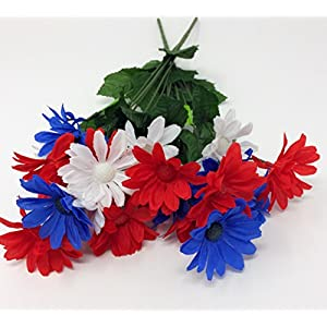 Red, White and Blue Floral Garden Patriotic Flower Bushes, 16.25 in. (Daisies) 120