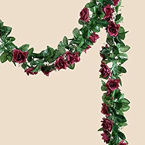Tableclothsfactory 6 FT Long 3D Chain Artificial Rose Garlands Wedding Supply -Burgundy 84