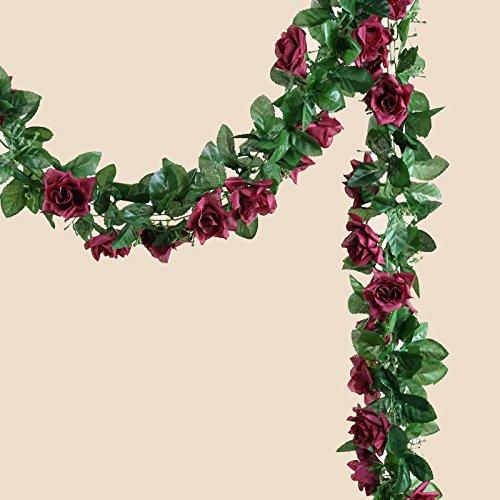 BalsaCircle 6 ft Burgundy 3D Chain Silk Rose Garlands - Artificial Flowers Wedding Arch Party Home Decorations Supplies