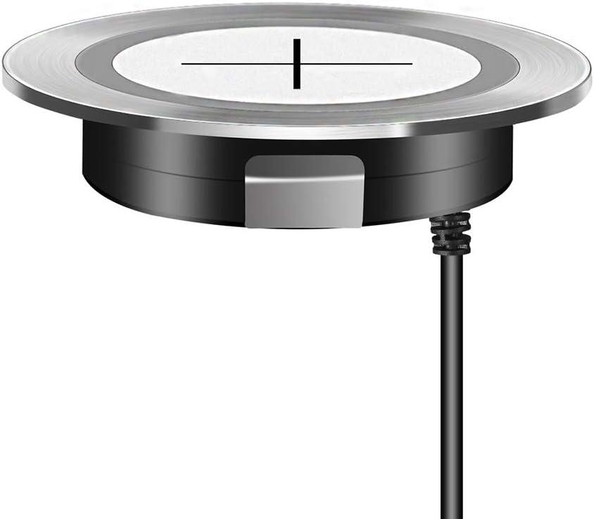 QI Carga inalámbrica rápida para el Orificio de la Superficie del Escritorio de los Muebles Carga integrada Dispositivos habilitados para Qi 60 mm de diámetro