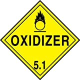 Accuform MPL501CT25 PF-Cardstock Hazard Class 5/Division 1 DOT Placard, Legend''OXIDIZER 5.1'' with Graphic, 10-3/4'' Width x 10-3/4'' Length, Black on Yellow (Pack of 25)
