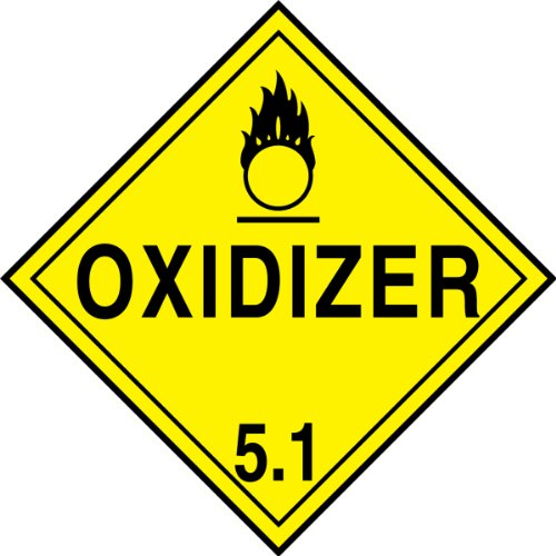 Accuform MPL501CT25 PF-Cardstock Hazard Class 5/Division 1 DOT Placard, Legend''OXIDIZER 5.1'' with Graphic, 10-3/4'' Width x 10-3/4'' Length, Black on Yellow (Pack of 25) by Accuform