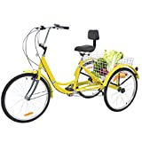 Barbella Adult Tricycle, 24-Inch Single and 7 Speed Three-Wheeled Cruise Bike with Large Size Basket for Recreation, Shopping, Exercise Men's Women's Bike (7 Speed Yellow)