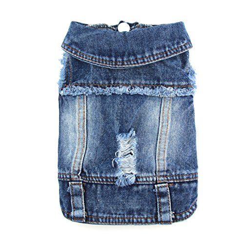 - PETCARE Pet Clothes Dog Jeans Jacket Dogs Blue Denim Coat Lapel Tassel Vests Vintage Washed Costume Apparel for Small Medium Dogs (Ripped Denim S)