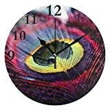Dozili Peacock Art Photography Round Wall Clock Arabic Numerals Design Non Ticking Wall Clock Large for Bedrooms,Living Room,Bathroom