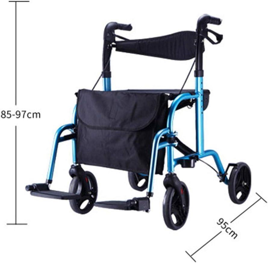 Mnjin Silla de Ruedas Trolley portátil Compras Silla de Transporte Plegable Bloque de Aluminio Walker para Ancianos, 5 Creative Home
