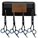 Dog Grooming Scissors Set - YOUTHINK 5 Pieces Stainless Steel Grooming Trimmer Kit