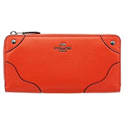 Coach Cardinal Grain Leather Mickie Accordian Zip Wallet