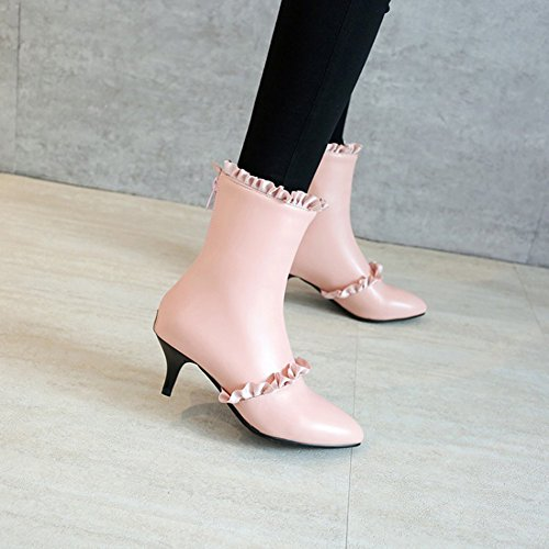 Easemax Womens Elegant Ruffled Pointed Toe Ankle Top Mid Kitten Heel Zipper Boots Pink 2ApAaG