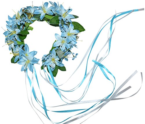 Bavarian Dirndl Blue Head Wreath for Oktoberfest - Dress Royal Womans Blue Roman