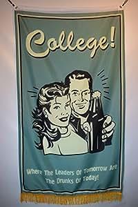 College bebidas broma humor Hangar de garaje sótano bandera 3x 5