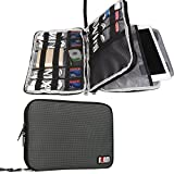 """BUBM Double Layer Electronics Organizer, Travel Gadget Bag for Cables, Memory Cards, Flash Hard Drive and More, Fit for iPad or Tablet(up To 9.7"""")--Large, Gray"""