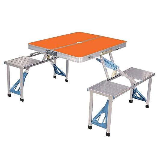 LJJY Mesa Plegable al Aire Libre y Conjunto de sillas portátiles ...
