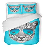Emvency 3 Piece Duvet Cover Set Breathable Brushed Microfiber Fabric Animal Original Drawing of Leopard with Mirror Sunglasses Colored Face Glasses Bedding Set with 2 Pillow Covers Twin Size