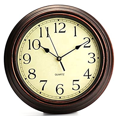Bekith Round Classic Clock Retro Non Ticking Quartz Decorative Wall Clock, 12-Inch