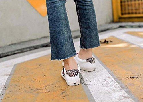 Zapatos 39 Match Color Green Zapatos Blanco Zapatos planos Zapatos Toe Sequins Tamaño 35 Eu Deportivos Pedal Snekers Shoelace zapatos Mujer Bomba Conducción Redonda qTv1wvP