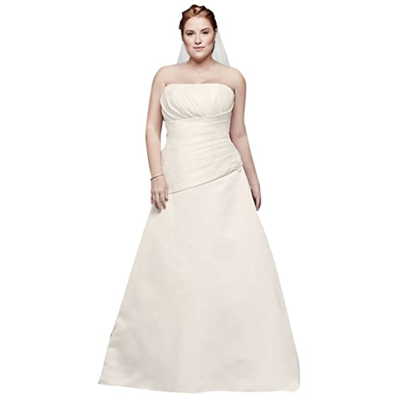 Davids Bridal Pleated Satin Drop Waist Plus Size Wedding Dress